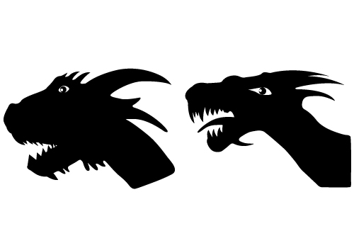 Two Free Download dragon Head Silhouettes