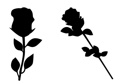 lovely rose silhouette vector free download