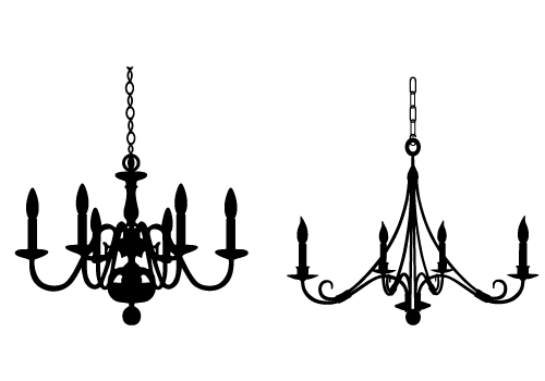 Traditional chandelier silhouette vector Free Download
