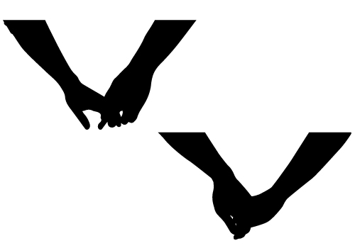 couple holding hands silhouette-01