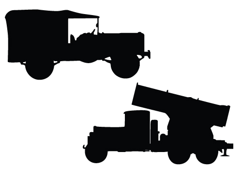 military vehicles silhouette vector