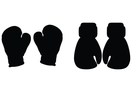 boxing gloves silhouette vector
