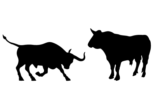 bull animals silhouette vector