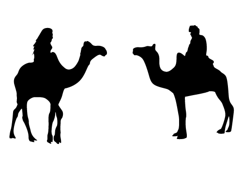 Camel Riding Silhouette Vector-01