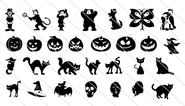 150 Spooky Halloween Vector Drawings Icons - Silhouette Vector Stock